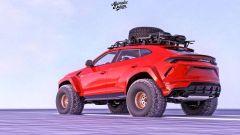 Lamborghini Urus delle nevi nel rendering di Abimelec Design, 3/4 posteriore
