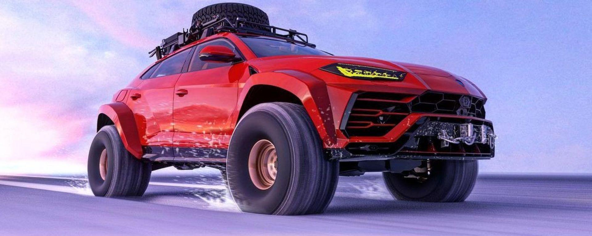 Lamborghini Urus delle nevi nel rendering di Abimelec Design