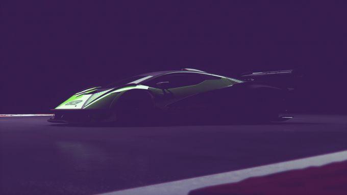 Lamborghini V12 2020: l'immagine schiarita per evidenziarne le linee