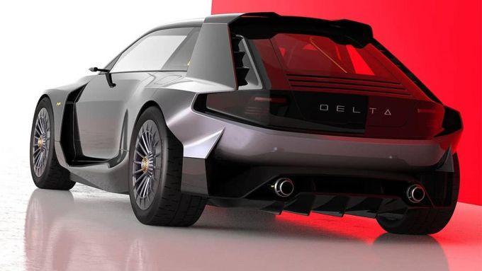 Lancia Delta Integrale: il posteriore (rendering di Sebastiano Ciarcià)