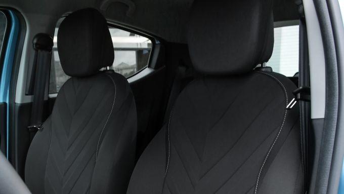 Lancia Ypsilon Hybrid Ecochic Maryne 2020, il tessuto dei sedili anteriori