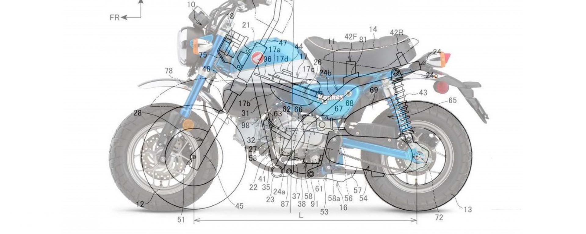L'attuale Monkey 125 a confronto col brevetto di una versione Honda ancor più mini