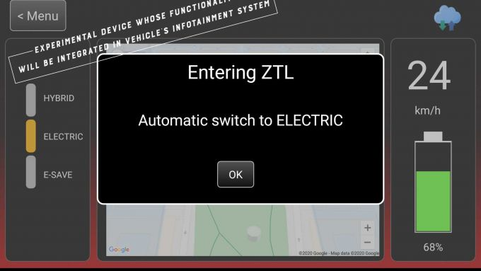 L'avvertimento che viene generato quando l'auto passa automaticamente alla modalità EV