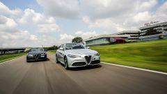 Le Alfa Romeo Giulia Veloce impegnate sulla pista del museo Alfa di Arese