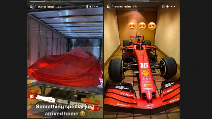 Le storie su Instagram con cui Leclerc ha mostrato il regalo arrivato da Maranello