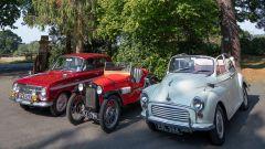 Le tre auto a disposizione del pubblico, la VauxhallVX490 HB del 1963, laAustin 7 Ulster 1934 Replica e la Morris Minor del 19