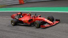 Leclerc (Ferrari) in pista a Monza