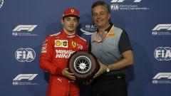 Leclerc riceve da Mario Isola il trofeo del poleman