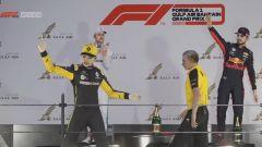 L'esultanza (virtuale) di Guanyu Zhou sul podio del GP Bahrain 2020