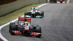 Lewis Hamilton a Interlagos nel 2011, il suo ultimo GP con la McLaren