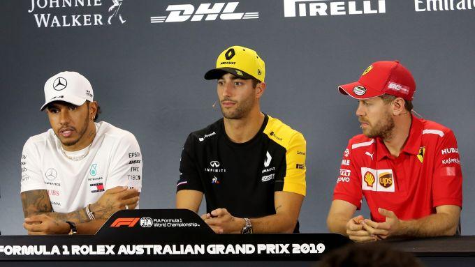 Lewis Hamilton, Daniel Ricciardo e Sebastian Vettel, i tre piloti più pagati del circus