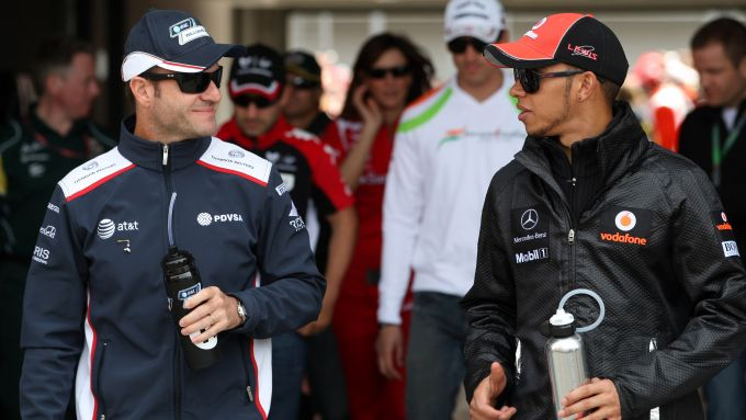 Lewis Hamilton e Rubens Barrichello nel GP della Turchia a Istanbul nel 2011