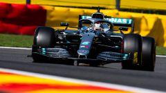 Lewis Hamilton (Mercedes) in pista a Spa con la sua W10 nel 2019