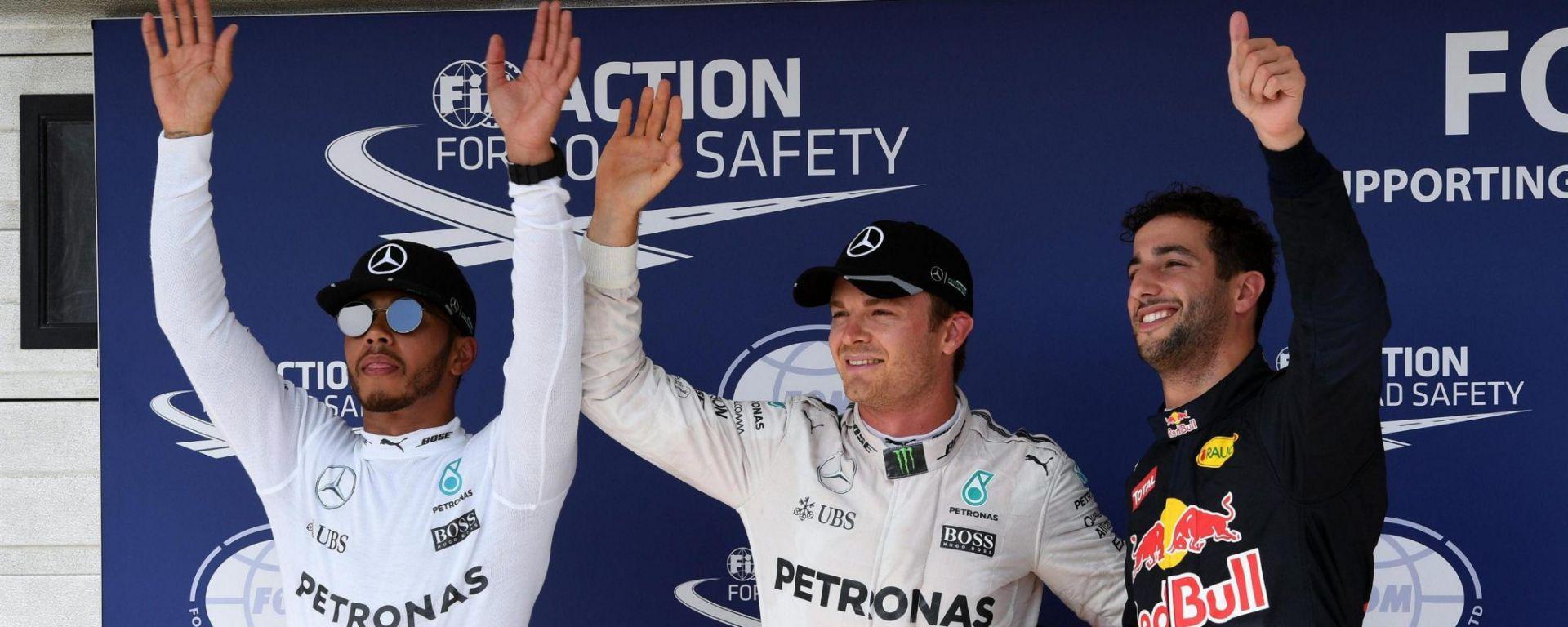 Lewis Hamilton, Nico Rosberg e Daniel Ricciardo - GP Ungheria