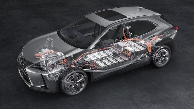 Lexus UX 300e: il pacco batterie a ioni di litio da 54,3 kWh sotto il pianale