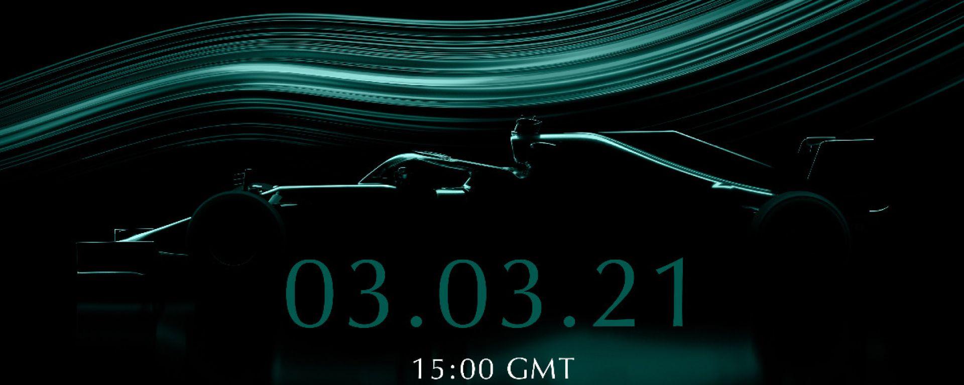L'immagine che annuncia la data di presentazione della nuova Aston Martin di Formula 1