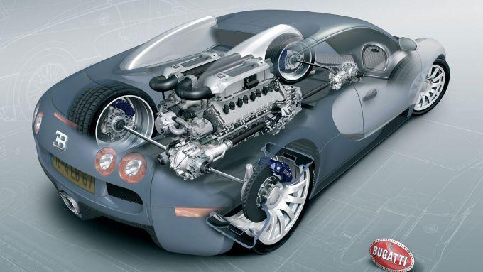 L'ingombro del motore W16 nel trasparente della Bugatti Veyron
