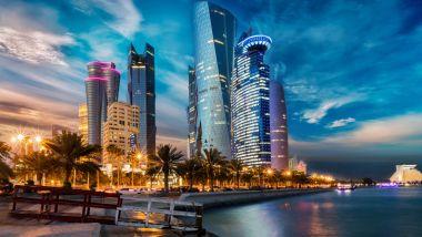 Lo skyline di Doha in Qatar