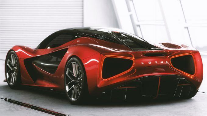 Lotus Evija: il 3/4 posteriore della hypercar elettrica