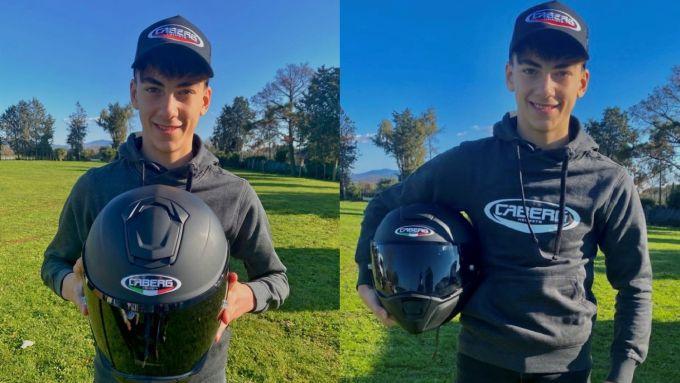 Luca Lunetta con il casco Caberg Drift Evo