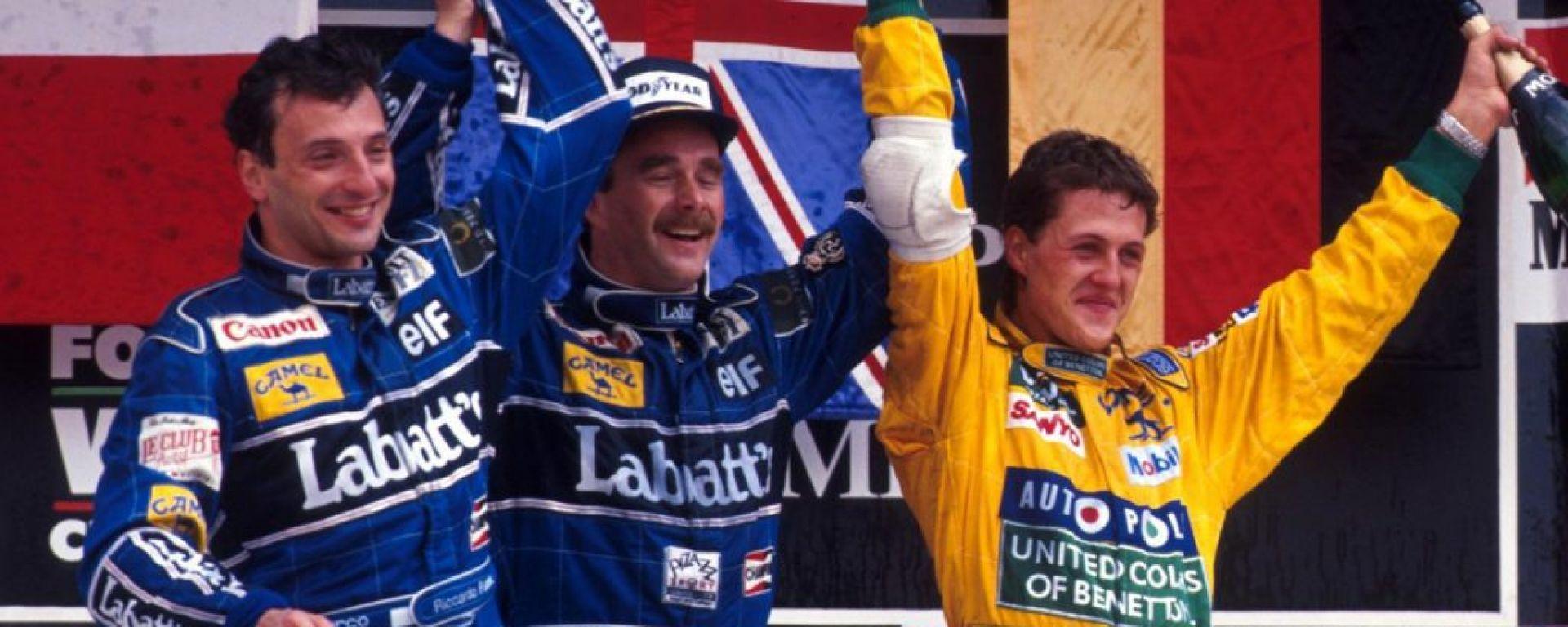 Mansell, Patrese e Schumacher,  1992 - F1 GP Messico