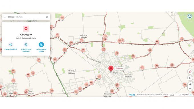 Mappa di Codogno su Waze