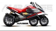 Marablese Blade concept: moto tre ruote in linea. Foto