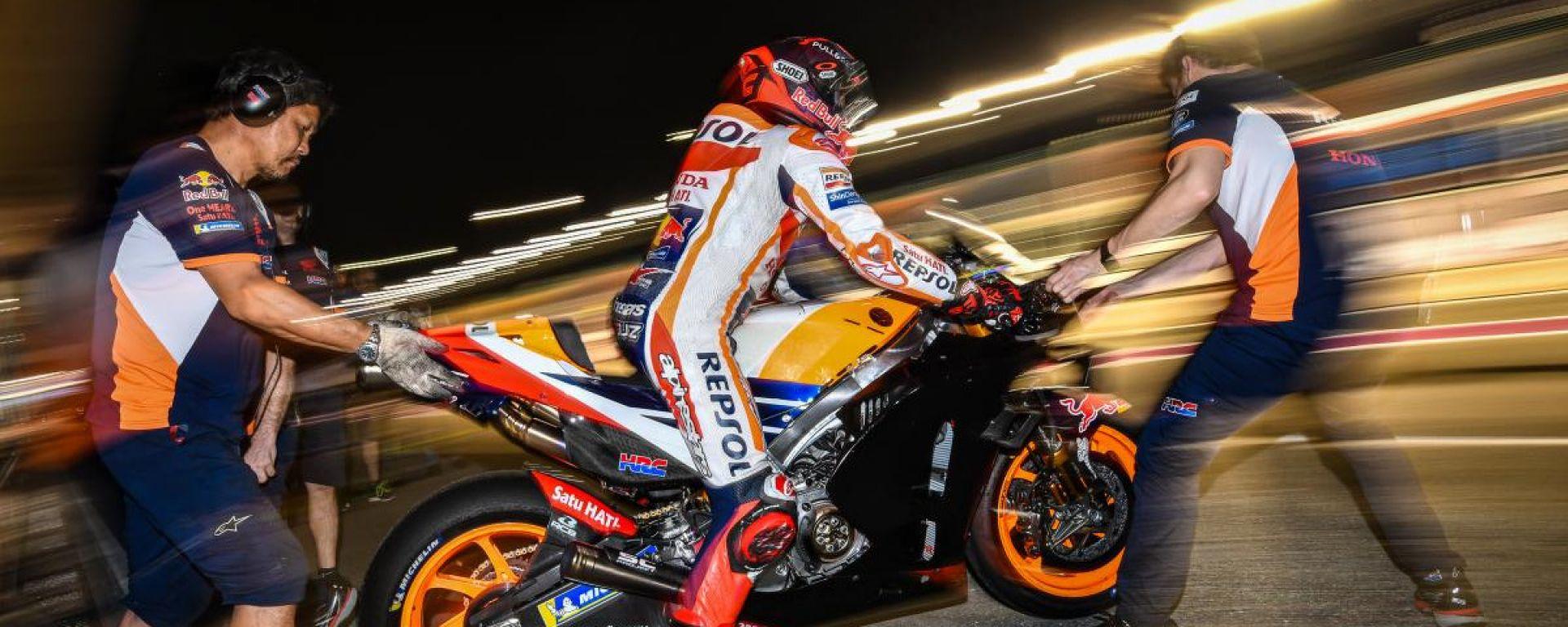 Marc Marquez (Honda) impegnato nei test MotoGP in Qatar