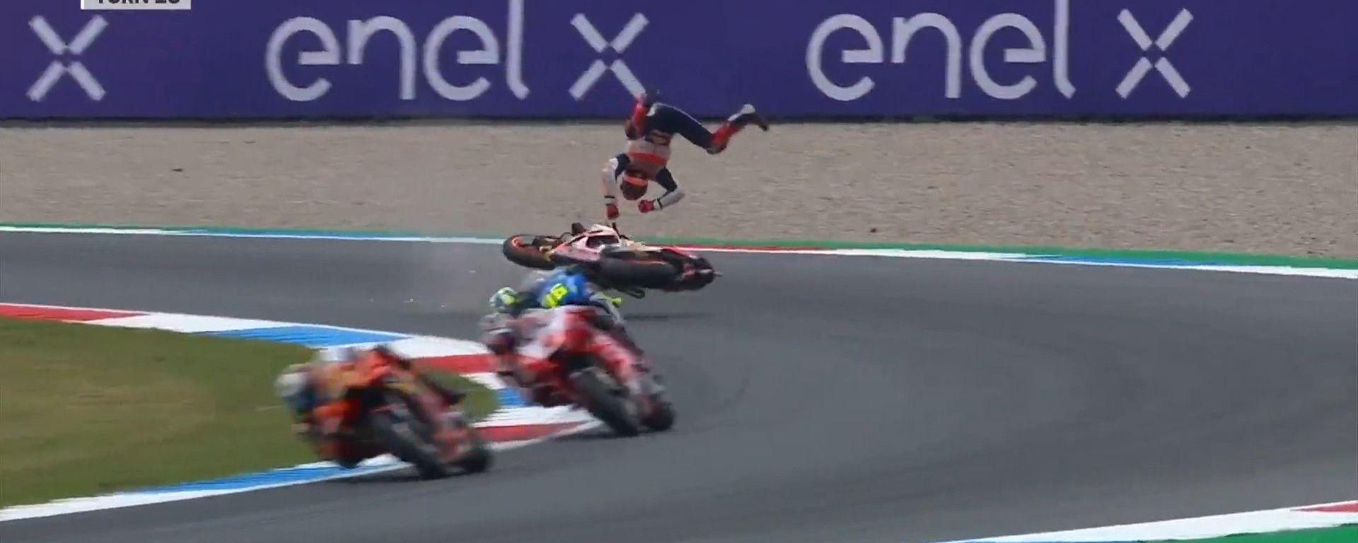 Marc Marquez (Honda), incidente nelle FP2 del GP Olanda 2021 ad Assen