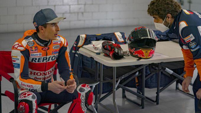 Marc Marquez (Honda) nel test privato di Barcellona nel marzo 2021
