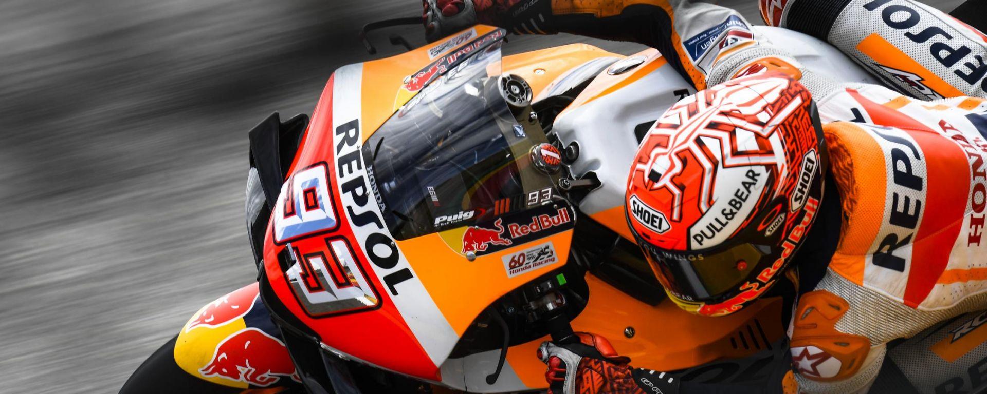 Marc Marquez (Repsol Honda) in pista al Sachsenring
