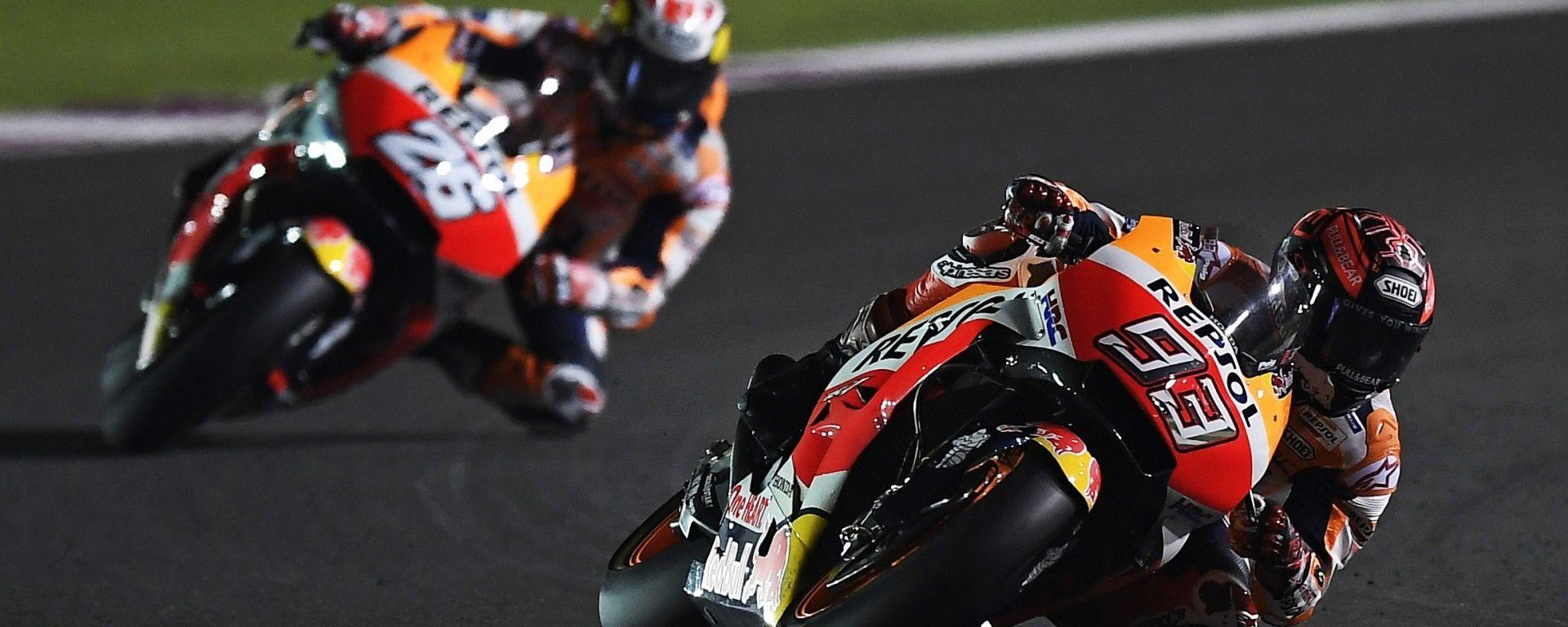 Marquez e Pedrosa nel GP del Qatar 2018