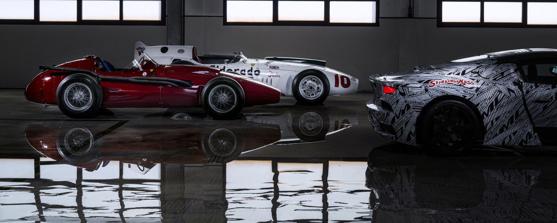 Maserati: il prototipo della MC 20 in compagnia delle antenate 250F e 250F Eldorado