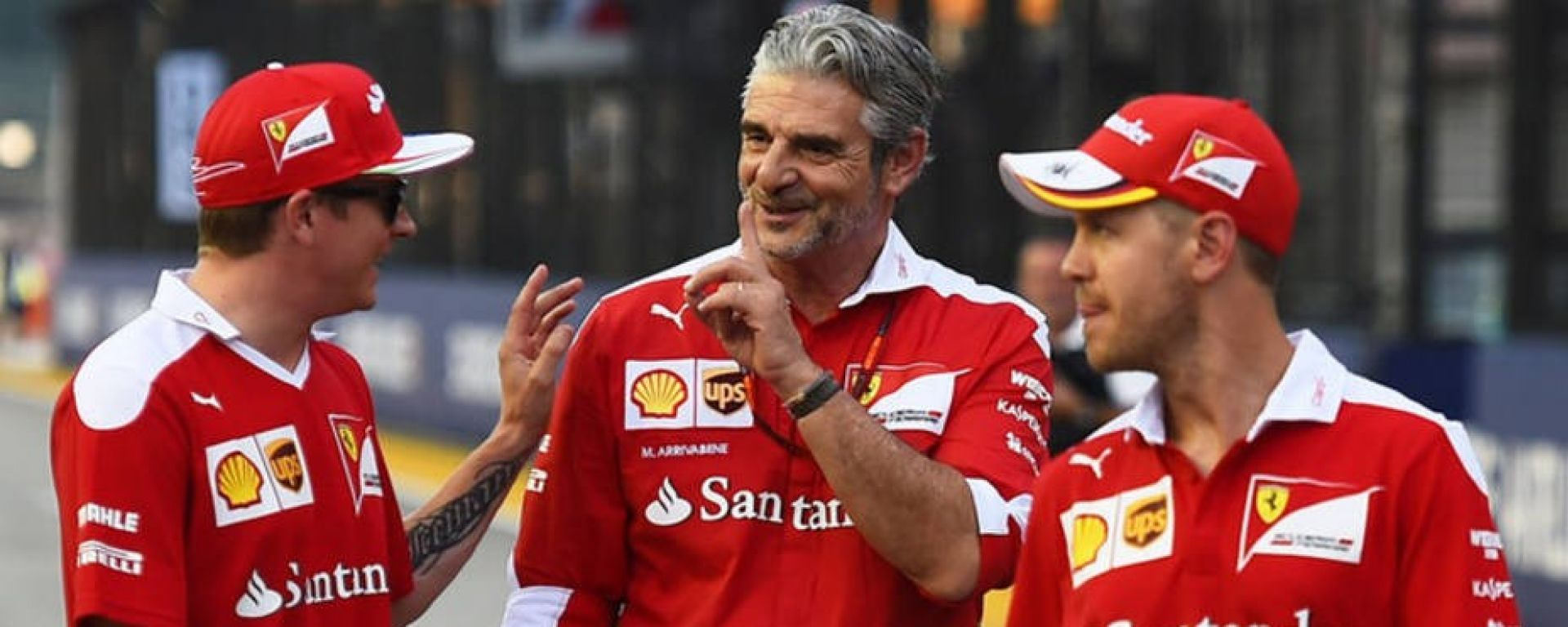 Maurizio Arrivabene con Raikkonen e Vettel