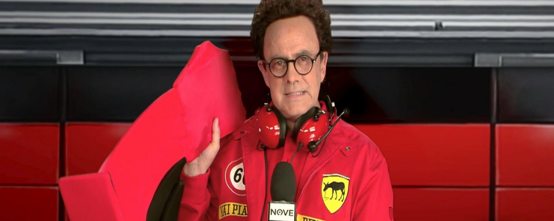 Maurizio Crozza è Mattia Binotto, il team principal della Scuderia Ferrari