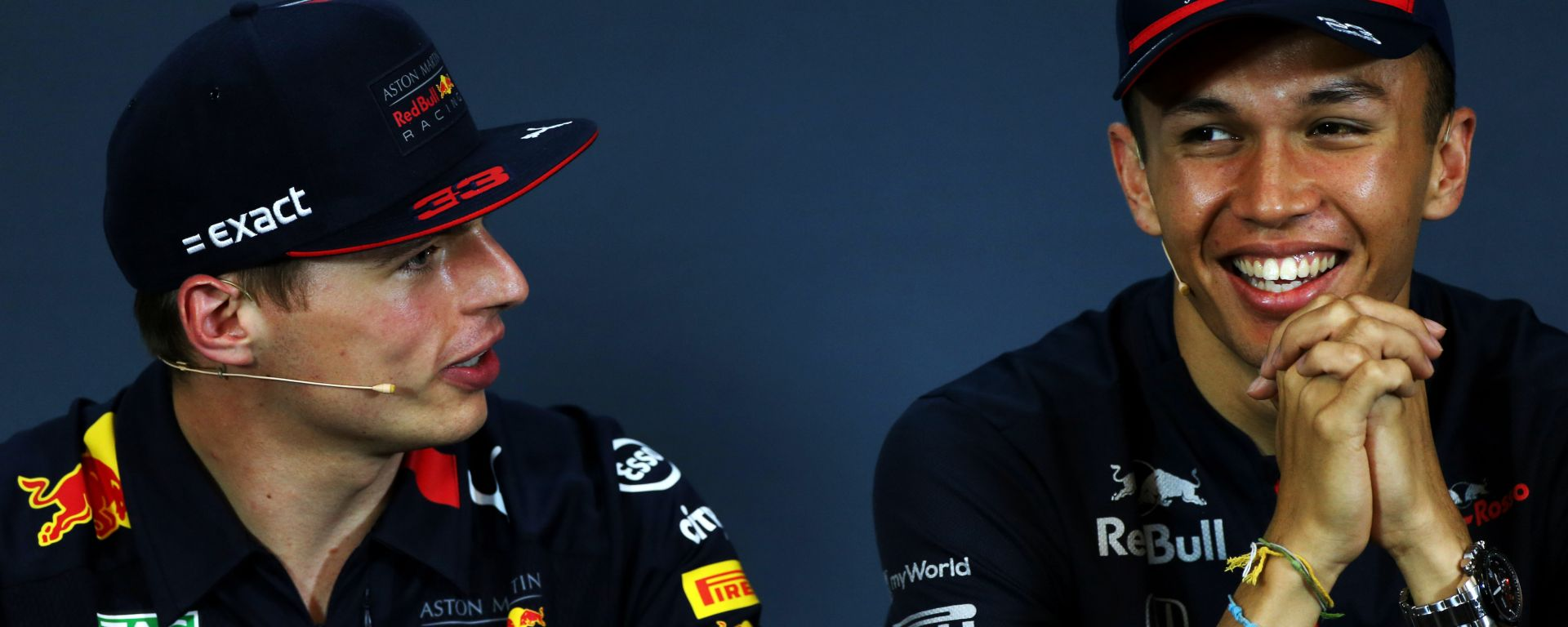 Max Verstappen e Alex Albon nella conferenza stampa del giovedì al GP Austria 2019, Spielberg