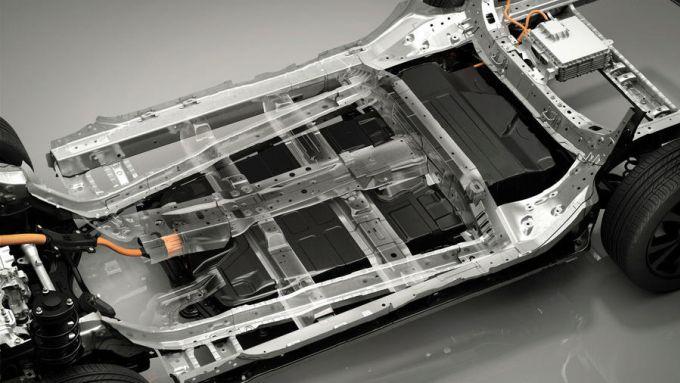 Mazda CX-30 EV: il pianale con le batterie