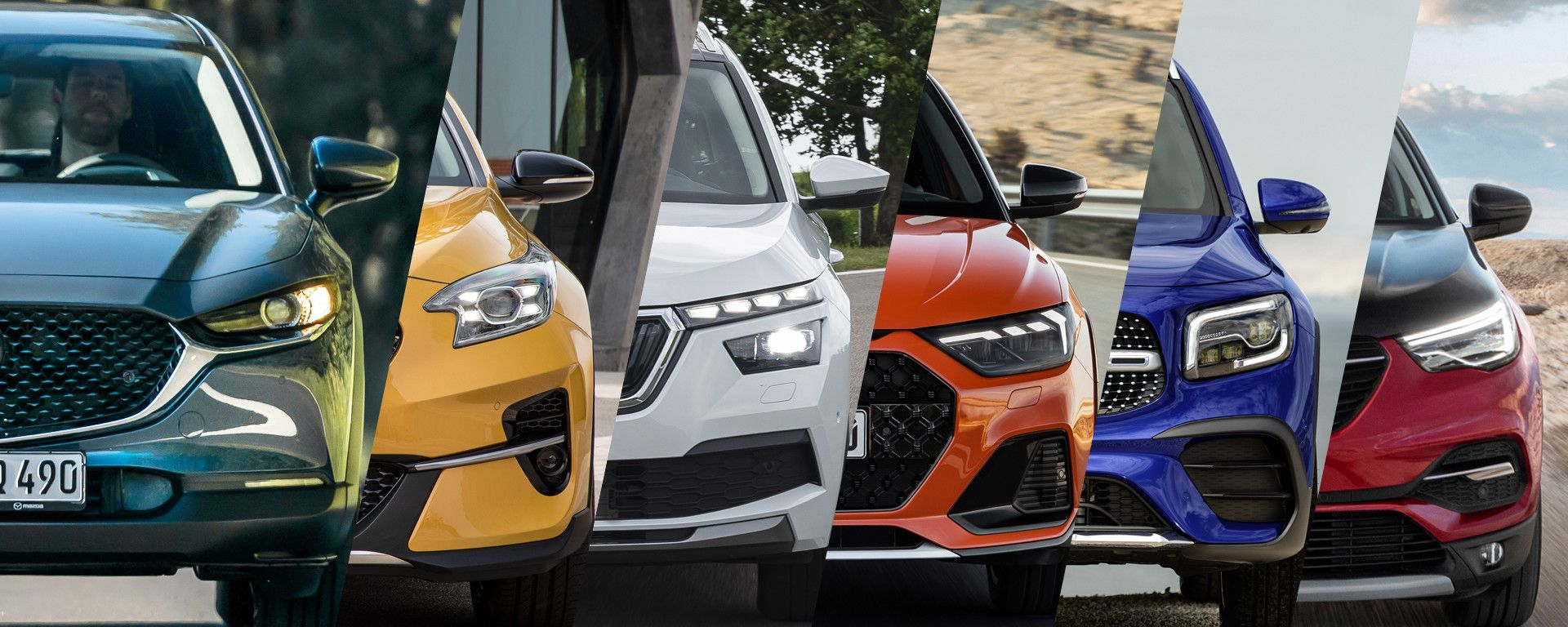 Mazda CX-30, Kia Xceed, Skoda Kamiq, Audi A1 Citycarver, Mercedes GLB, Opel Grandland X Hybrid4