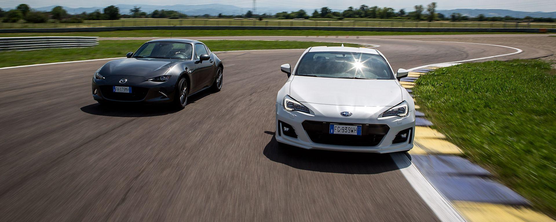 Mazda MX-5 RF vs. Subaru BRZ 2017: il confronto in pista