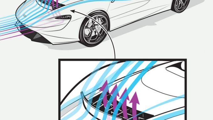 McLaren Elva, infografica del parabrezza virtuale