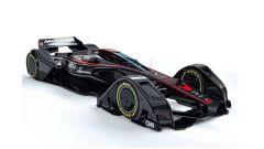 McLaren MP4-X Concept: ruote carenate e abitacolo coperto.