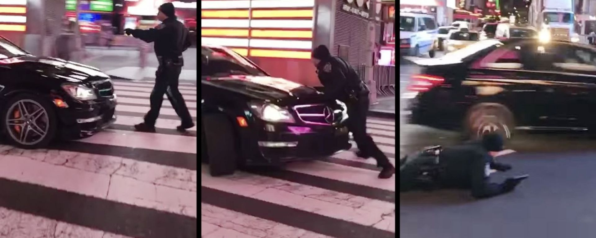 Mercedes C63 AMG a New York investe un poliziotto per evitare l'arresto