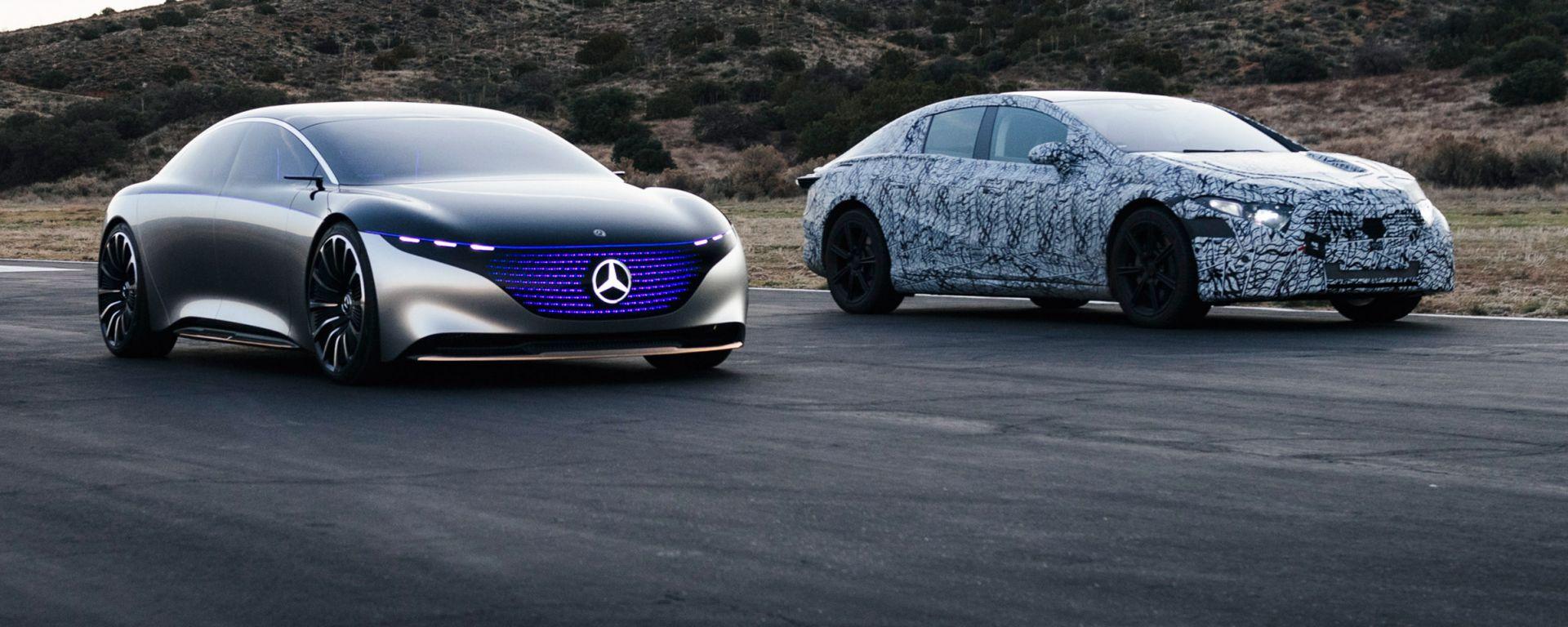 Mercedes EQS ed EQS Vision: prototipo da salone accanto al muletto