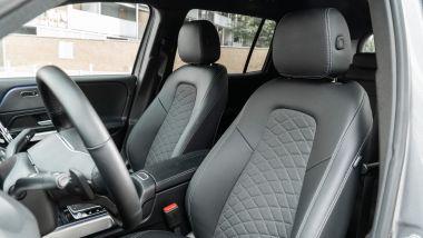Mercedes GLB 200d Automatic: i sedili anteriori hanno il cuscino estensibile per dare più sostegno alle gambe