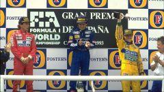 Michael Schumacher e il podio delle Leggende, con Senna e Prost nel GP di Spagna 1993