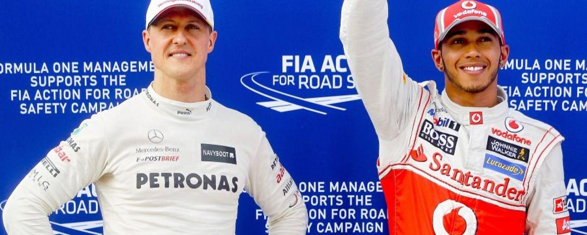 Michael Schumacher e Lewis Hamilton