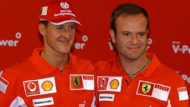 Michael Schumacher e Rubens Barrichello (Scuderia Ferrari) nel GP Brasile 2005