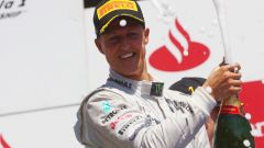 Michael Schumacher sul podio a Valencia nel GP d'Europa 2012. Il suo ultimo podio in carriera