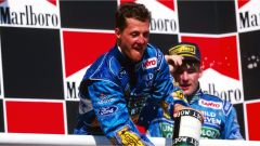 Michael Schumacher sul podio del GP Ungheria - F1 1994