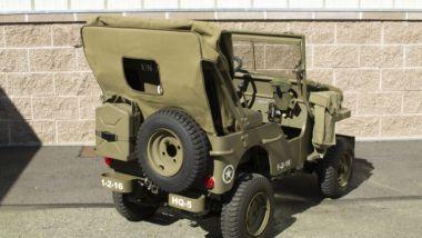 Mini Jeep Willys: una vista da dietro del fuoristrada americano in scala ridotta